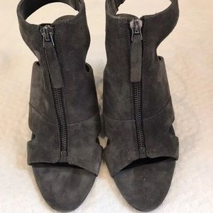 Charcoal gray suede wedges with ankle strap